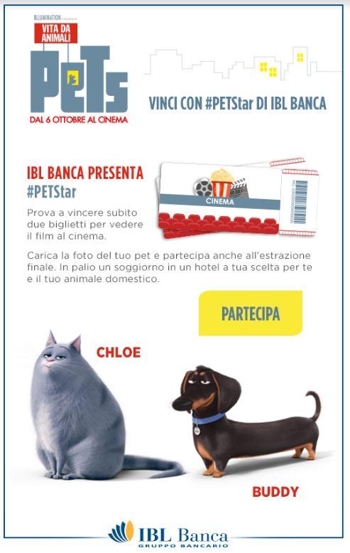 VINCI DUE BIGLIETTI DEL CINEMA PER PETS VITA DA ANIMALI CON IBL BANCA
