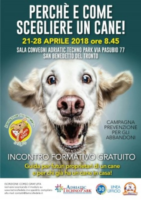 """""""Perché e come scegliere un cane"""", a San Benedetto del Tronto un corso pre-adozione"""
